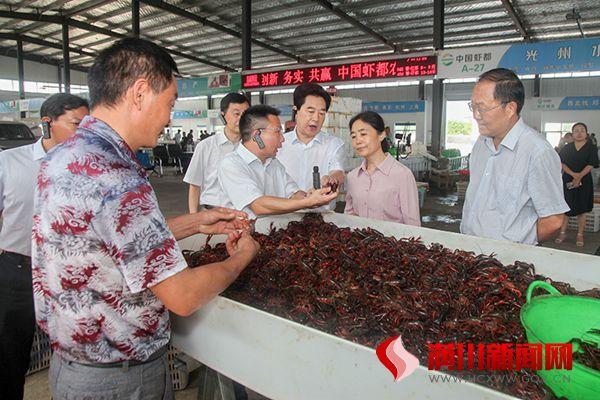 市调研组来我县调研小龙虾产业发展